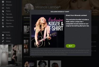 Spotify 最近也開放在藝人頁面讓他們販售其他周邊產品。