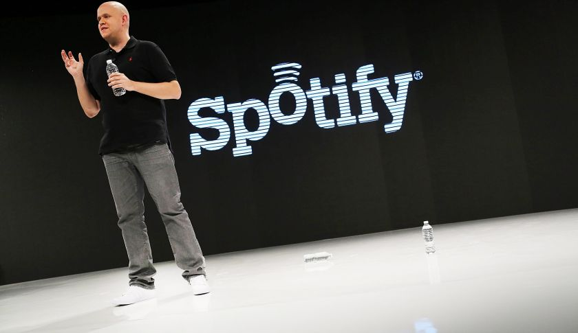 NEW YORK, NY - DECEMBER 06:  Spotify's founder and CEO Daniel Elk speaks at a Spotify event on December 6, 2012 in New York City. Elk, who started the Swedish music streaming business in 2006, introduced a variety of new additions to the popular music sight. Elk also announced that Spotify now has 5 million paid subscribers, 20 million active users and has paid out a half billion dollars to artist's record labels.  (Photo by Spencer Platt/Getty Images)