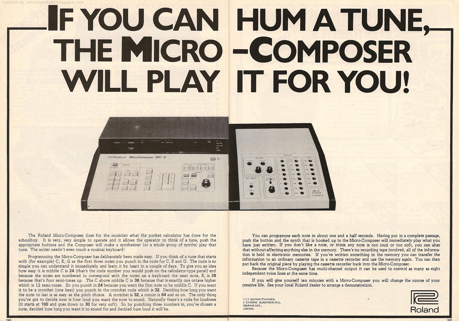 出產自 1977 年的 Roland MC-8 Microcomposer,是最早期具有微處理機功能之定序器(sequencers),當時要價日幣120萬(約當時台幣約 19萬),要價不菲所以僅在全球售出 200 台,但是當時它先進的功能對音樂科技發展有著劃時代的意義。