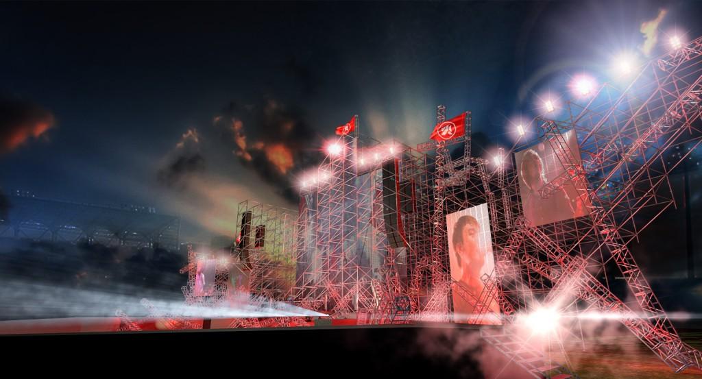 滅火器首度曝光本次「ON FIRE DAY 棒球場萬人演唱會」舞台設計圖模擬,由於地點位於棒球場,除主舞台外有延伸台。(非最終舞台圖,相知國際提供)
