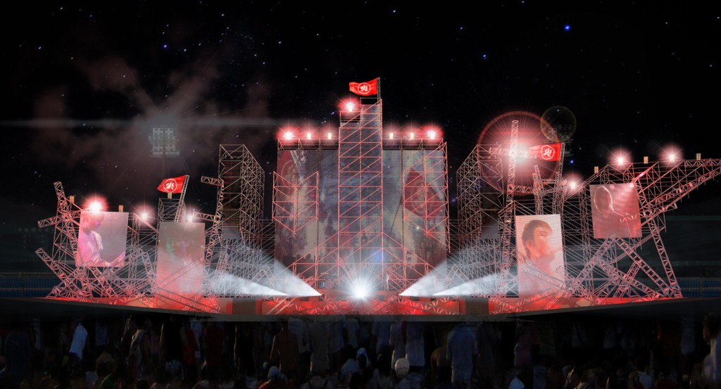 樂團首度曝光本次「ON FIRE DAY 棒球場萬人演唱會」舞台設計圖模擬。(非最終舞台圖,相知國際提供)