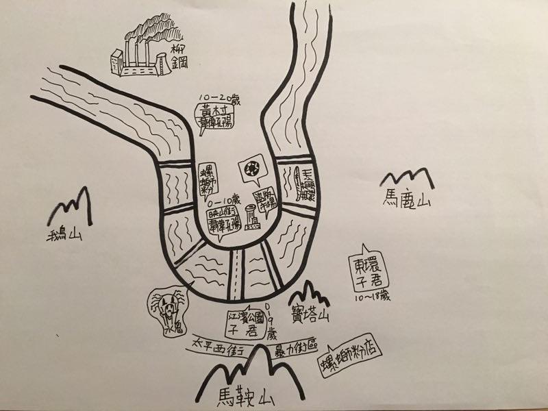 孔陽特意為街聲手繪的「旅行團主題」柳州地圖。