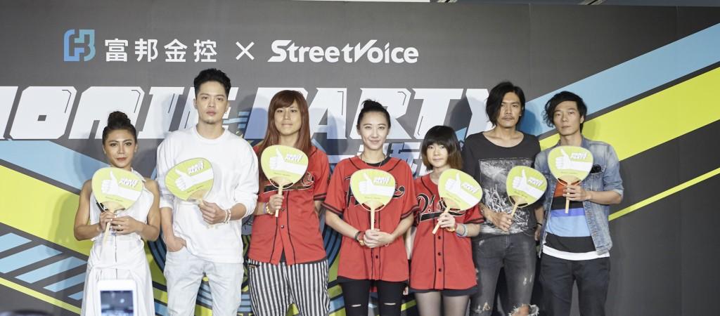 五組音樂創作人(左起)艾怡良、J.Sheon、P!SCO 樂團,以及聲子蟲樂團。