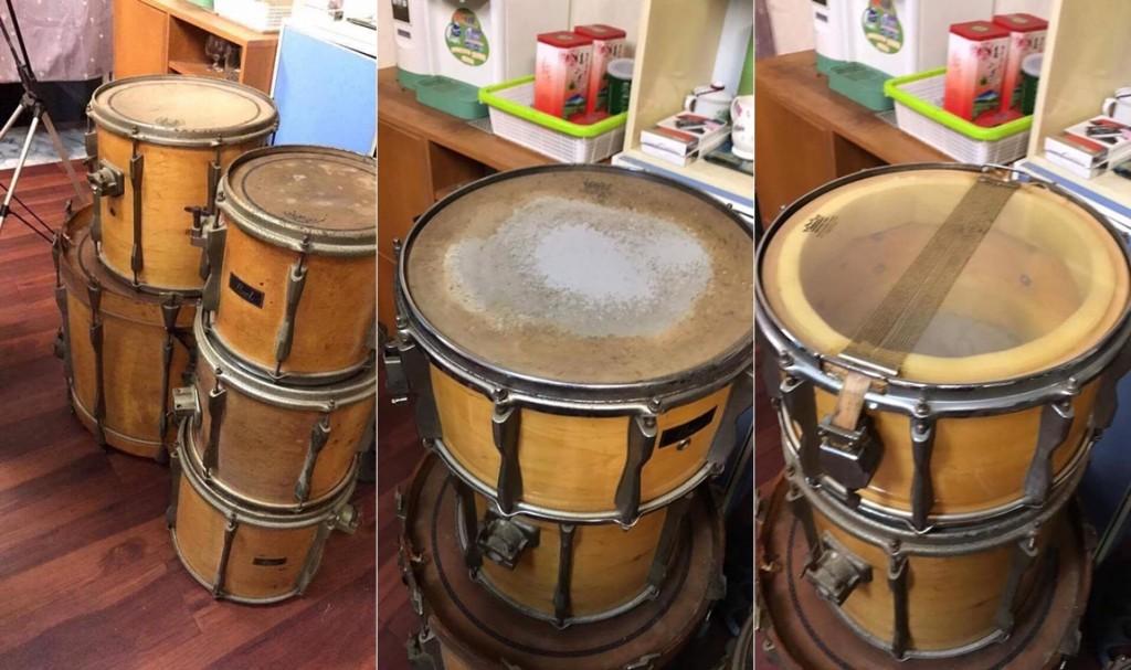 在有鼓氣之友的推薦下問我們是否想收留這套鼓,看到鼓的當下其實有點懷念,感覺跟以前在彰化員林學鼓時期的鼓很像!(圖右)這種悶音法大家是否很熟悉?