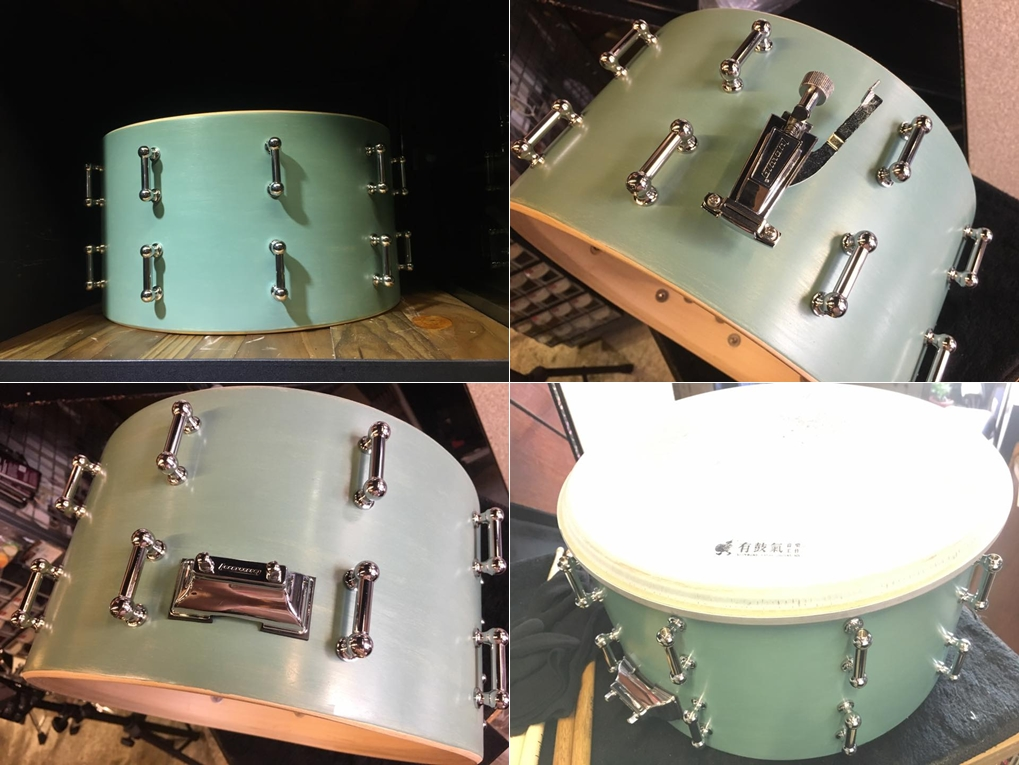 (左上)先裝上 Lug (右上)原本的開關早就壞掉不堪使用 找了一個洞距相當Ludwig Drums開關 (左下)開關屁股竟然一模一樣的洞距 (右下)換上Remo Ambassador。