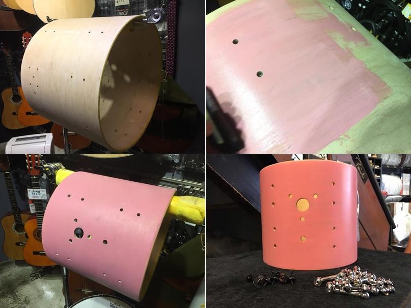 (右上)Pink 第一層 (左下)乾燥兩天 (右下)三次之後