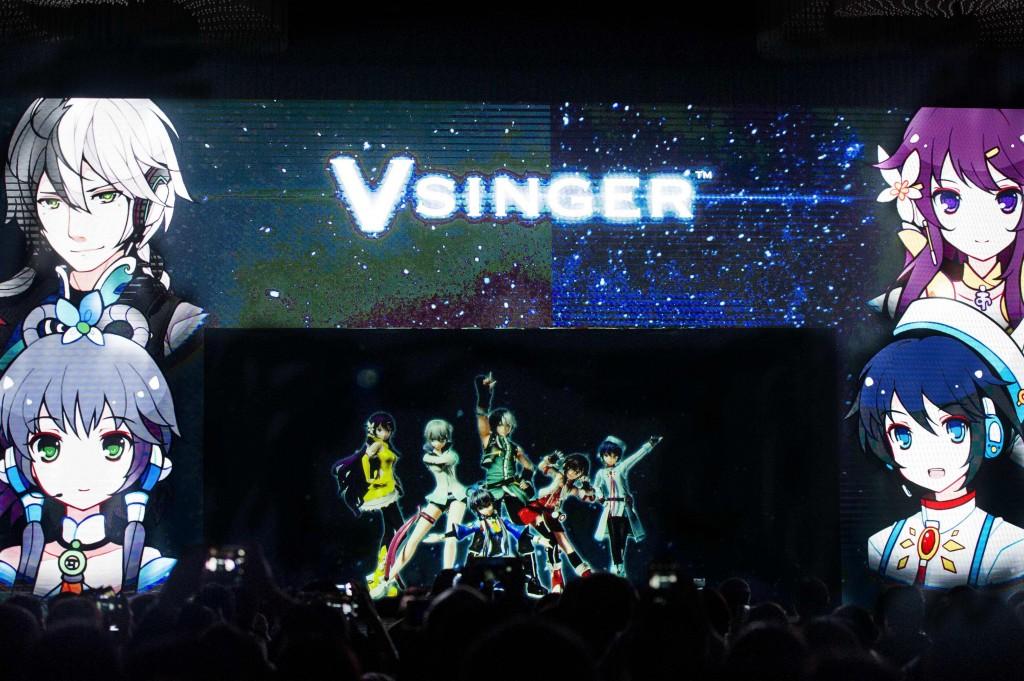 Vsinger 全體成員以 AR 全息影像技術進行表演