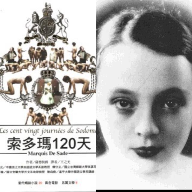 左:《索多瑪一百二十天》中文版書封(商周出版)。/自傳式小說《情人》作者莒哈絲 (Marguerirte DURAS)少女的照片。