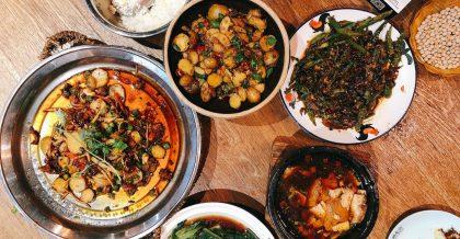 最大的那盆是花椒兔,其餘是乾鍋土豆、回鍋肉、麻婆豆腐、炒生菜、鍋邊饃