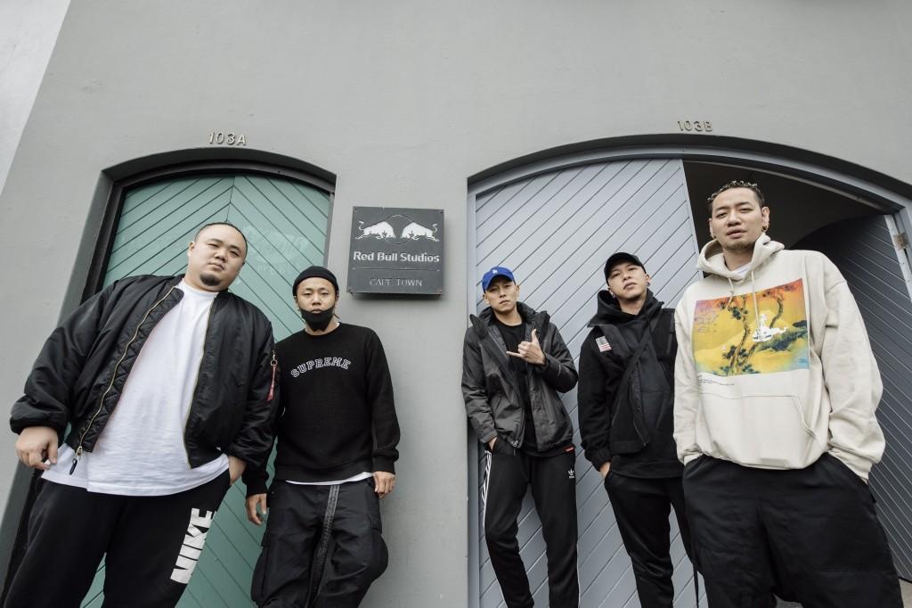 前往南非Red Bull studio錄製新曲(由左至右) 頑童MJ116大淵、Tipsy、頑童MJ116瘦子、頑童MJ116小春、陳星翰