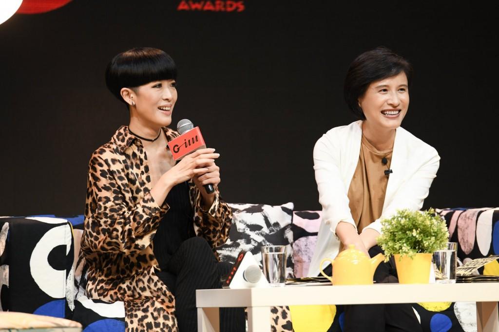 評審團主席陳珊妮與文化部長鄭麗君共同出席第九屆金音獎入圍名單公布記者會。