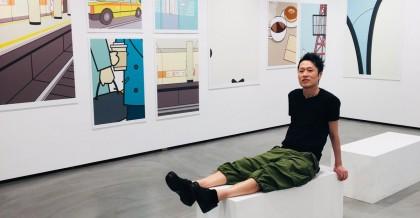 中村至男與米飛兔(Miffy)系列作品合照(取自中村至男制作室 Twitter)